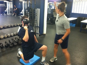 Coach Prencipe (pictured above) takes a Citadel football player through the workout.
